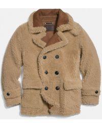 COACH Reverse Shearling Pea Coat - Natural