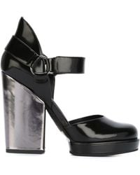 DKNY - Rene Metallic-Heeled Leather Court Shoes - Lyst