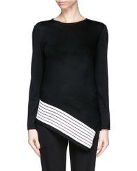 St. John Asymmetric Stripe Hem Sweater - Lyst
