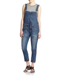 Current/Elliott Boyfriend Zip Overalls - Lyst