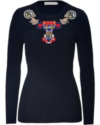 Mary Katrantzou Wool Pullover with Embellishment - Lyst