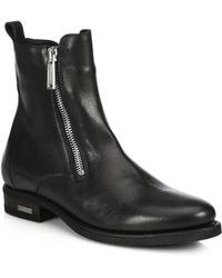 DSquared² Side-Zip Leather Ankle Boots - Black