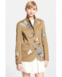 Valentino Butterfly Detail Drill Jacket - Lyst