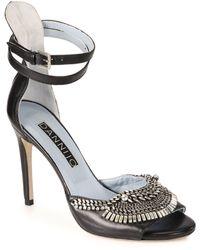 DANNIJO Rina Crystal & Chain Leather Sandals - Black