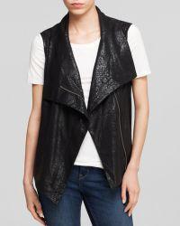 Two By Vince Camuto Python Print Moto Vest - Black