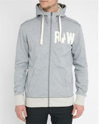 G-Star RAW | Mottled-grey Grount Zipped Hooded Sweatshirt | Lyst