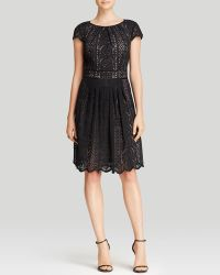 Adrianna Papell Dress  Cap Sleeve Lace Fit and Flare - Lyst
