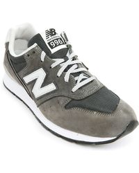 New Balance 996 Grey Leather Sneakers - Lyst