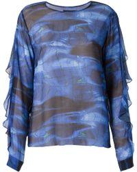 Vitorino Campos 'Piscina' Print Sheer Blouse - Lyst