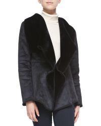 Lily Aldridge For Velvet Faux-suede Jacket W Sherpa Lining Black Petite - Lyst
