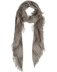 Gucci Beige Cotton Blend Pattern Printed Fringed Scarf - Lyst