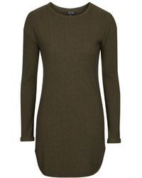 Topshop Ribbed Tunic - Lyst