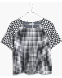 Madewell Raglan Crop Top In Gingham - Lyst