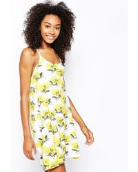 Asos Strappy Swing Dress in Summer Floral Print - Lyst