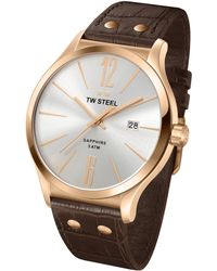 Tw Steel Slim Line Rose-gold Plated Stainless Steel Watch - Lyst