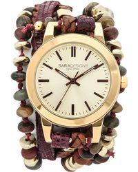 Sara Designs - Vino Wrap Watch - Wine/gold - Lyst