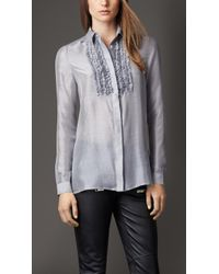 Burberry Frill Detail Silk Shirt - Lyst