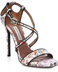 Tabitha Simmons Jen Floral Print Strappy Leather Sandals - Lyst