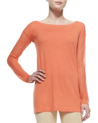 Donna Karan New York Cashmere Easy Tunic W Mesh Sleeves - Lyst