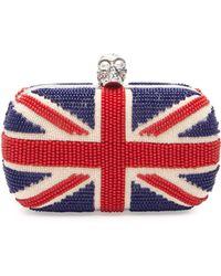 Alexander McQueen Britannia Beaded Skull-Clasp Clutch Bag - Lyst