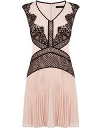 Karen Millen Placed Lace Dress - Lyst