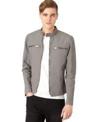 Calvin Klein Coated Moto Jacket - Lyst