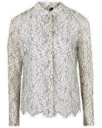 Topshop Scallop Lace Shirt - Lyst