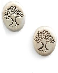 Satya Jewelry - 'tree Of Life' Engraved Stud Earrings - Lyst