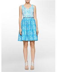 Calvin Klein White Label Marble V-Neck Belted Sleeveless Fit + Flare Dress - Lyst