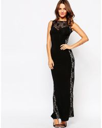Little Black Dress - Sofia Maxi Dress With Lace Top - Lyst