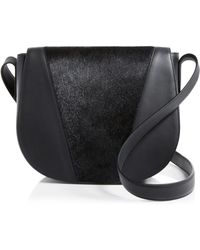 Vince Modern V Calf Hair Saddle Bag - Black