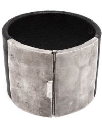 Parts Of Four Leather and Silver Box Lock Bracelet - Lyst