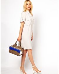 Asos Military Shirt Dress - Lyst