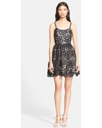 Alice + Olivia Lace Fit & Flare Dress - Lyst