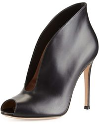Gianvito Rossi Leather V-Neck Peep-Toe Bootie black - Lyst