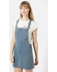 Topshop Moto Vintage Wash Pinafore Dress blue - Lyst