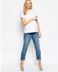 Asos Maternity Mom Jeans In Miami Wash With Thigh And Knee Rip in ...