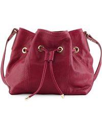 Lauren Merkin Peyton Snake-Embossed Leather Bucket Bag - Red