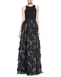 Milly Stella Sleeveless Fringedskirt Gown Black 0 - Lyst