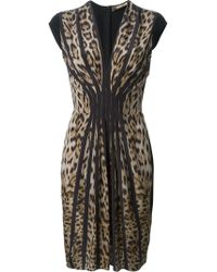 Roberto Cavalli Pleated Leopard Print Dress - Lyst