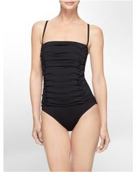 Calvin Klein White Label Ruched Bandeau One-Piece Swimsuit - Lyst