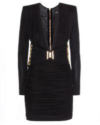 Balmain Embellished Ruched Dress - Lyst