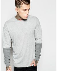 ASOS | Oversized Long Sleeve T-shirt With Waffle Double Layer Sleeves | Lyst