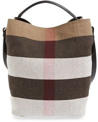Burberry | Medium Susanna Mega Check Jute and Cotton Bucket Bag | Lyst