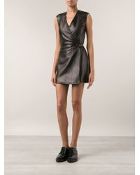 T By Alexander Wang Black Wrap Dress - Lyst