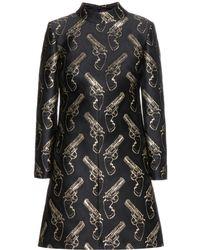 Saint Laurent Silkblend Crepe Dress - Lyst