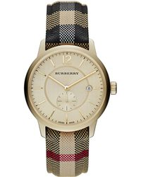 Burberry Ladies Goldtone Stainless Steel Jacquard Strap Watch - Lyst