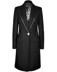 Versace Woolcashmere Coat with Leather Trim - Lyst