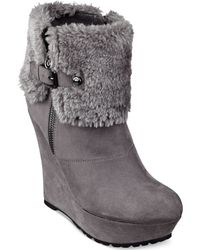 G By Guess Womens Paso Faux-fux Fold-over Platfom Wedge Booties - Lyst