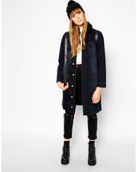 Asos Longline Denim Jacket with Borg Collar in Panther Wash - Lyst
